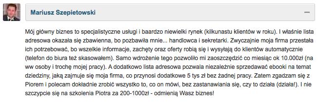 Opinia: Mariusz Szepietowski o kursie Budowanie Listy